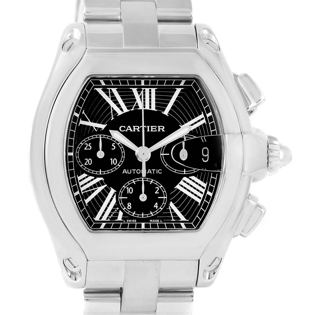 13362 Cartier Roadster Chronograph Black Dial Steel Automatic Watch W62020X6 SwissWatchExpo