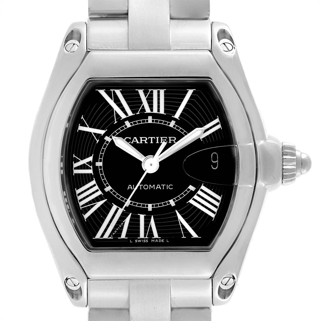 13060 Cartier Roadster Black Dial Large Automatic Steel Watch W62041V3 Box SwissWatchExpo