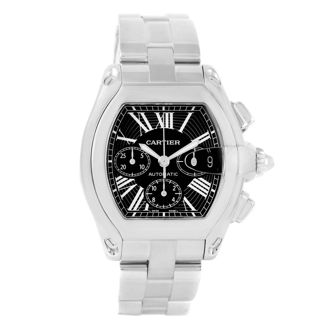 12247 Cartier Roadster Chronograph Black Dial Mens Watch W62020X6 Box Strap SwissWatchExpo