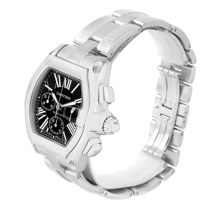 Cartier Roadster Chronograph Black Dial Mens Watch W62020X6 Box Strap SwissWatchExpo