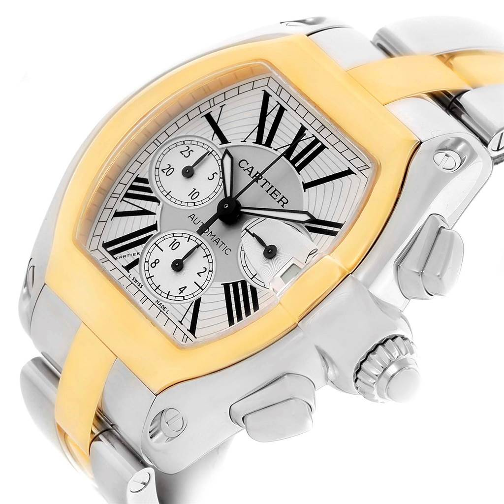 13474 Cartier Roadster Chronograph Mens Steel Yellow Gold Watch W62027Z1 SwissWatchExpo