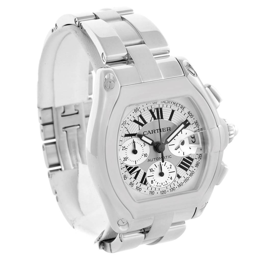 12570 Cartier Roadster Chronograph Silver Dial Mens Watch W62006X6 SwissWatchExpo
