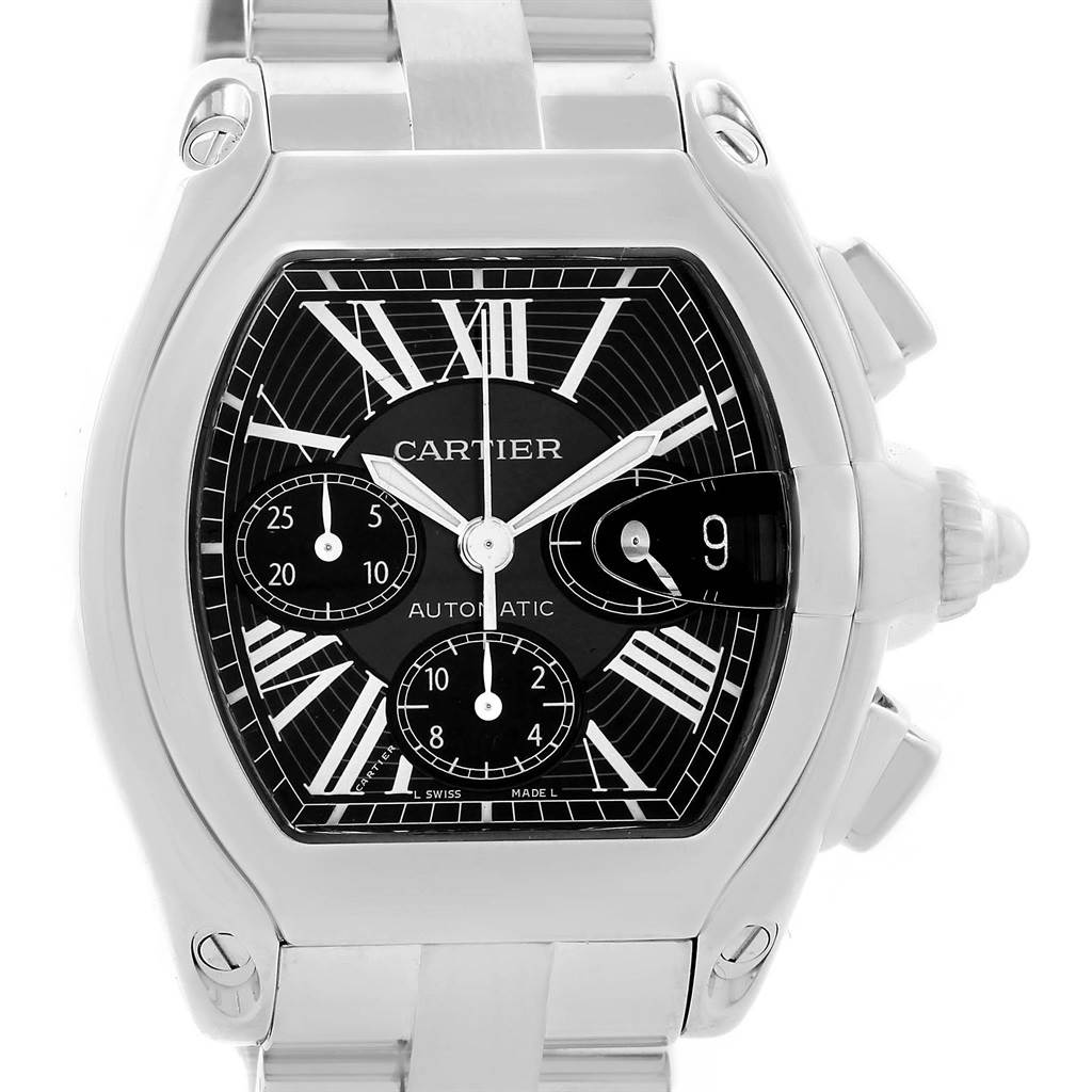 12357 Cartier Roadster Chronograph Black Dial Mens Watch W62020X6 Box Papers SwissWatchExpo