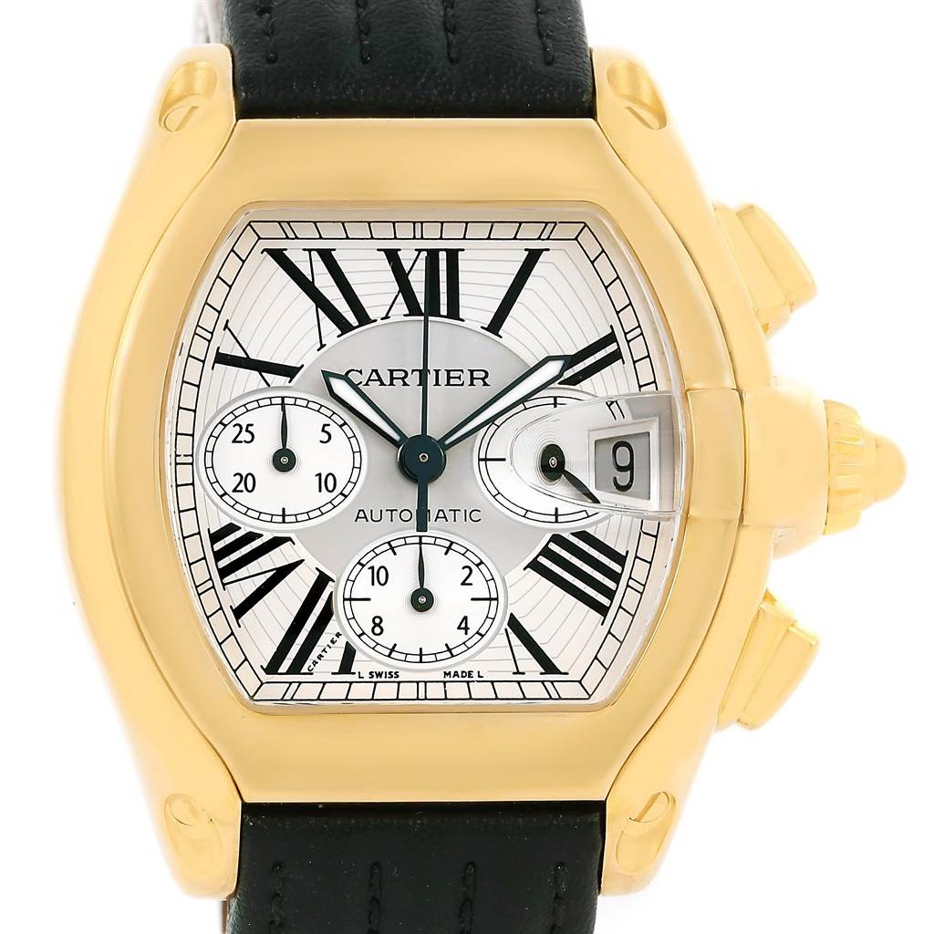 13538 Cartier Roadster Chronograph XL 18K Yellow Gold Mens Watch W62021Y2 SwissWatchExpo
