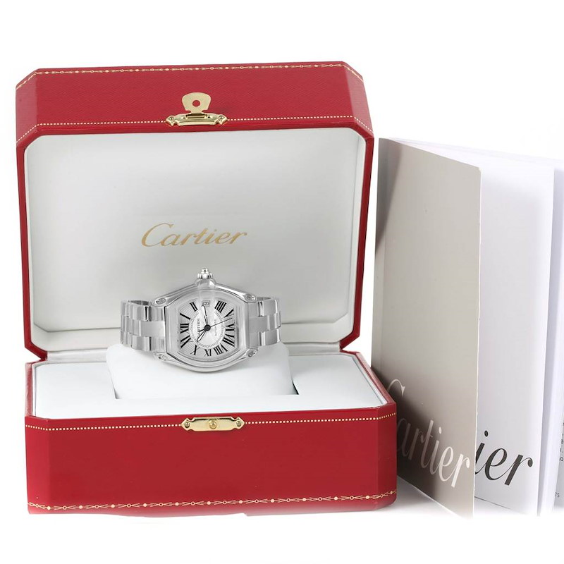 Cartier Roadster Large Silver Dial Mens Watch W62025V3 Box Papers SwissWatchExpo