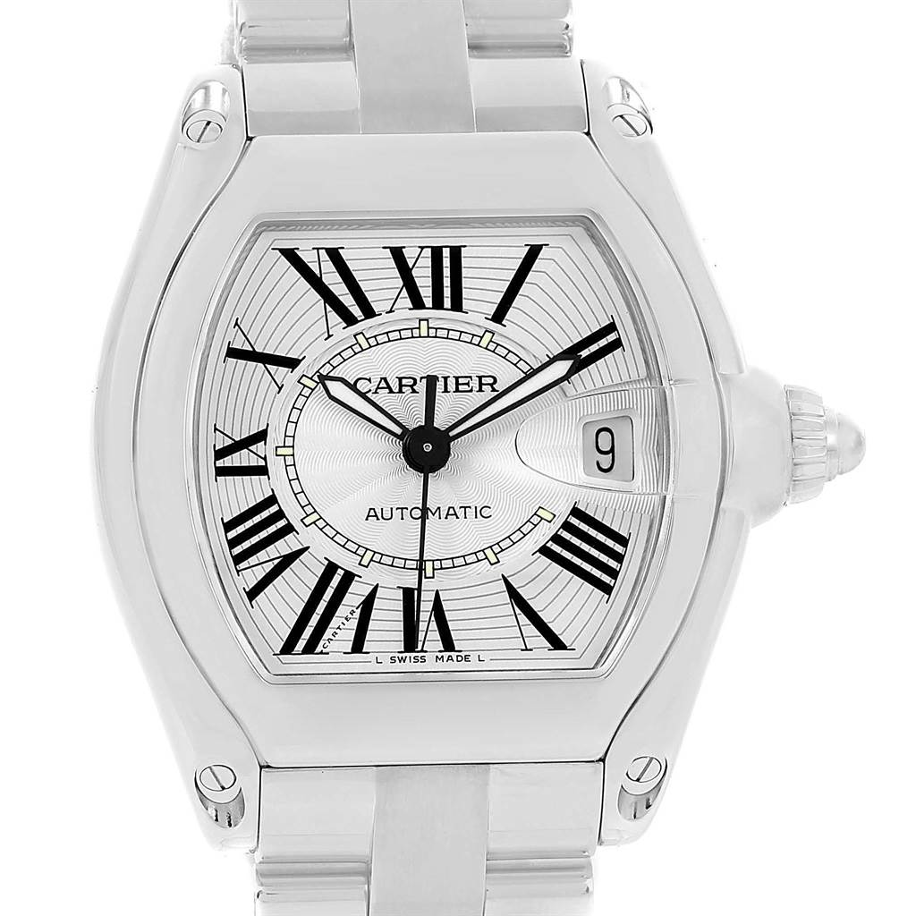 13796 Cartier Roadster Large Silver Dial Mens Watch W62025V3 Box Papers SwissWatchExpo