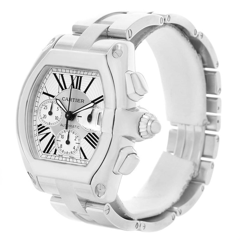 Cartier Roadster Chronograph Silver Dial Automatic Mens Watch W62019X6 SwissWatchExpo