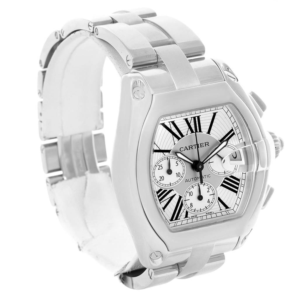 13539 Cartier Roadster Chronograph Silver Dial Automatic Mens Watch W62019X6 SwissWatchExpo