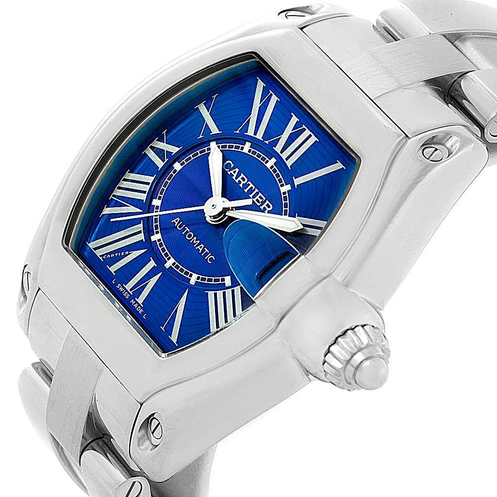 13810 Cartier Roadster Mens Stainless Steel Large Blue Dial Watch W62048V3 SwissWatchExpo