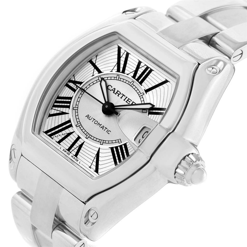 12710 Cartier Roadster Mens Automatic Steel Silver Dial Watch W62025V3 SwissWatchExpo