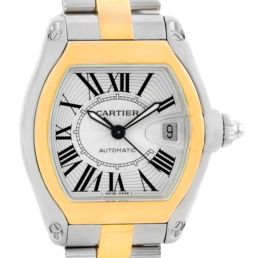 13865 Cartier Roadster 18k Yellow Gold Stainless Steel Mens Watch W62031Y4 SwissWatchExpo