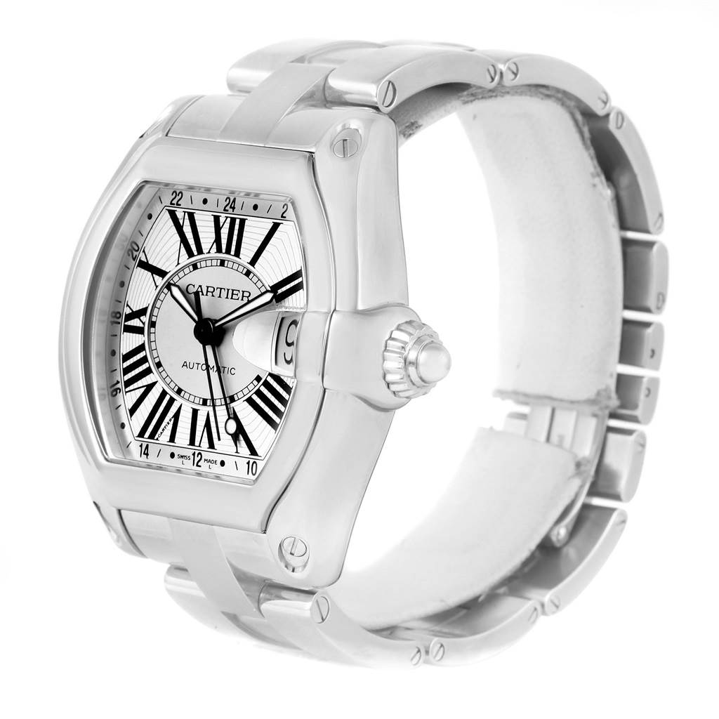 13772 Cartier Roadster GMT Silver Dial Stainless Steel Mens Watch W62032X6 SwissWatchExpo