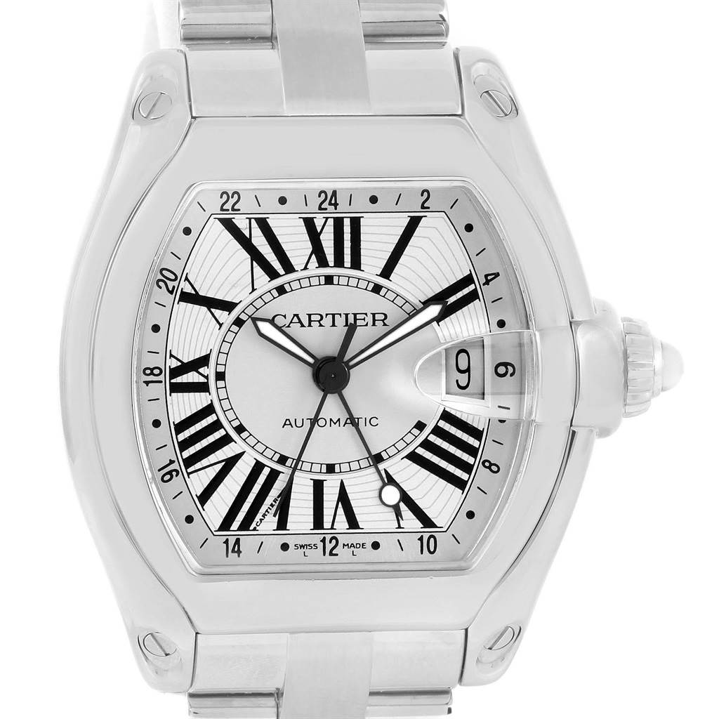 13770 Cartier Roadster Dual Time Zone GMT Steel Mens Watch W62032X6 SwissWatchExpo