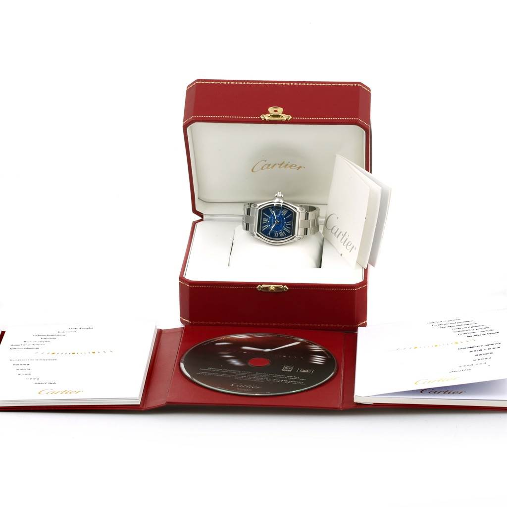 13882 Cartier Roadster Mens Steel Large Blue Dial Watch W62048V3 Box Papers SwissWatchExpo