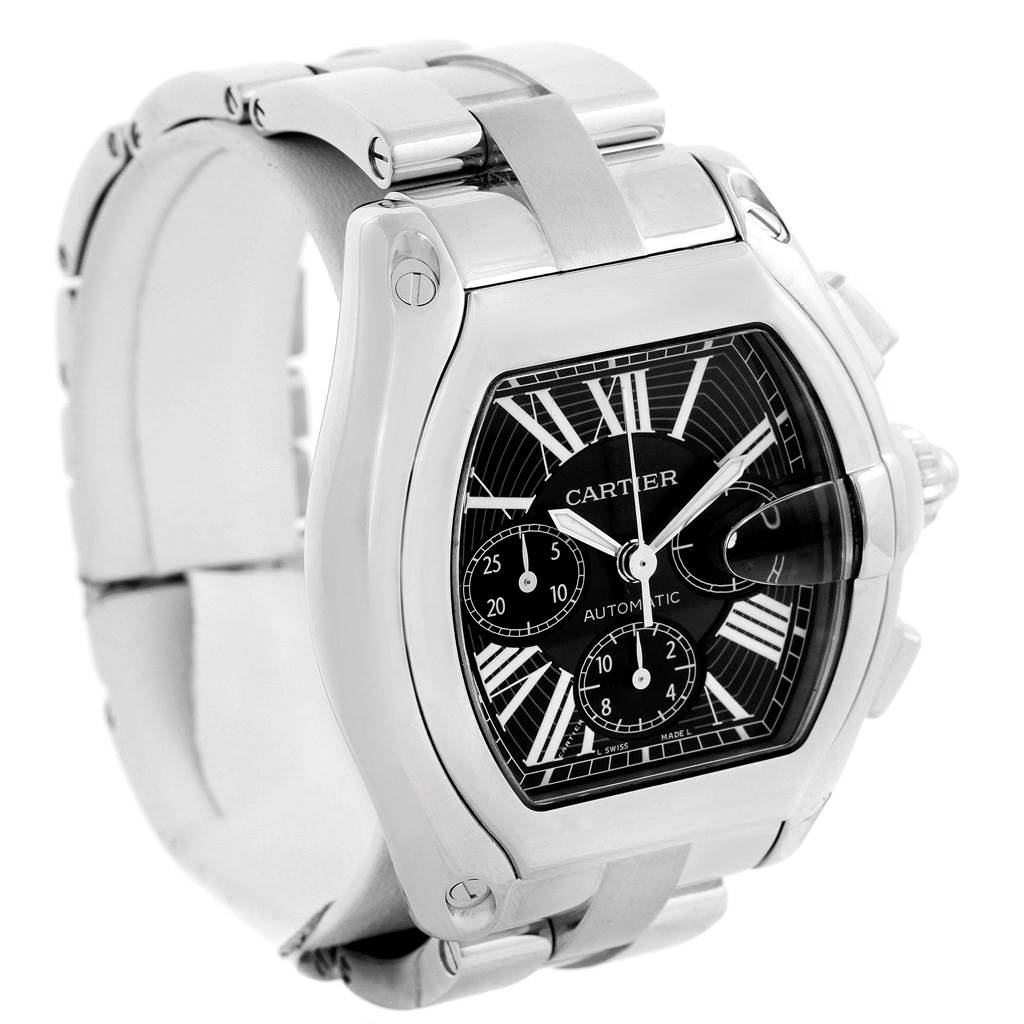 13598 Cartier Roadster Chronograph Black Dial Mens Watch W62020X6 SwissWatchExpo