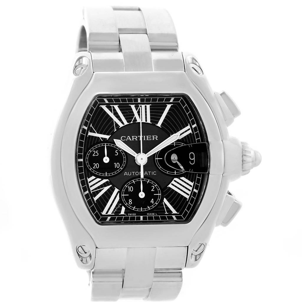 13727 Cartier Roadster Chronograph Black Dial White Strap Watch W62020X6 SwissWatchExpo