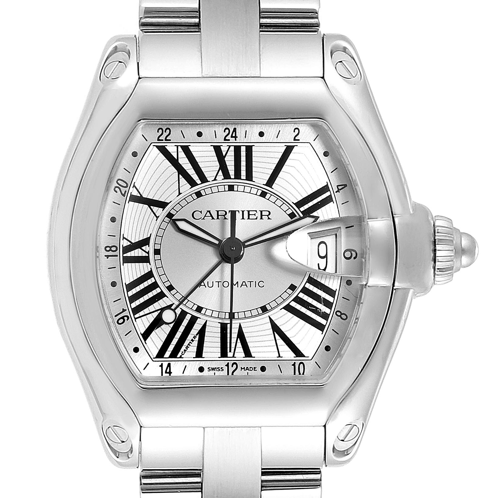 Cartier Roadster GMT Silver Dial Stainless Steel Mens Watch W62032X6