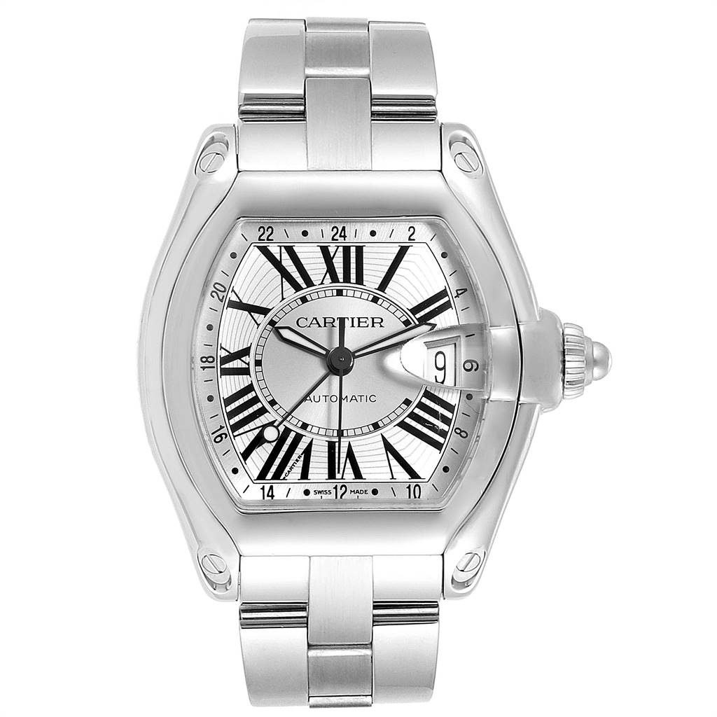 13691 Cartier Roadster GMT Silver Dial Stainless Steel Mens Watch W62032X6 SwissWatchExpo