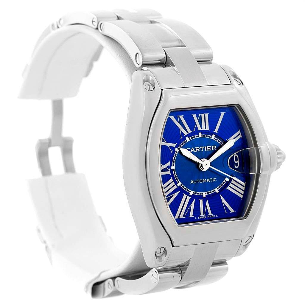 13959 Cartier Roadster Mens Stainless Steel Large Blue Dial Watch W62048V3 SwissWatchExpo