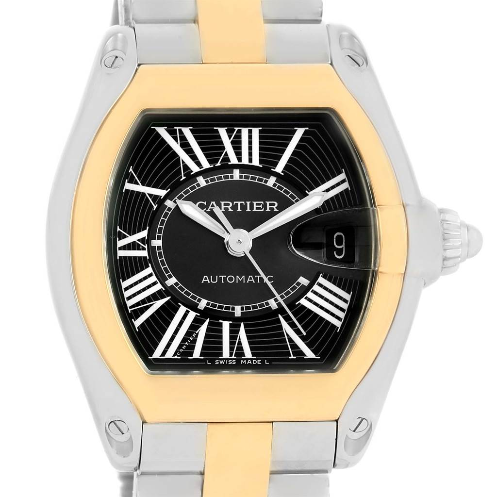 13953 Cartier Roadster Steel Yellow Gold Black Dial Mens Watch W62031Y4 SwissWatchExpo