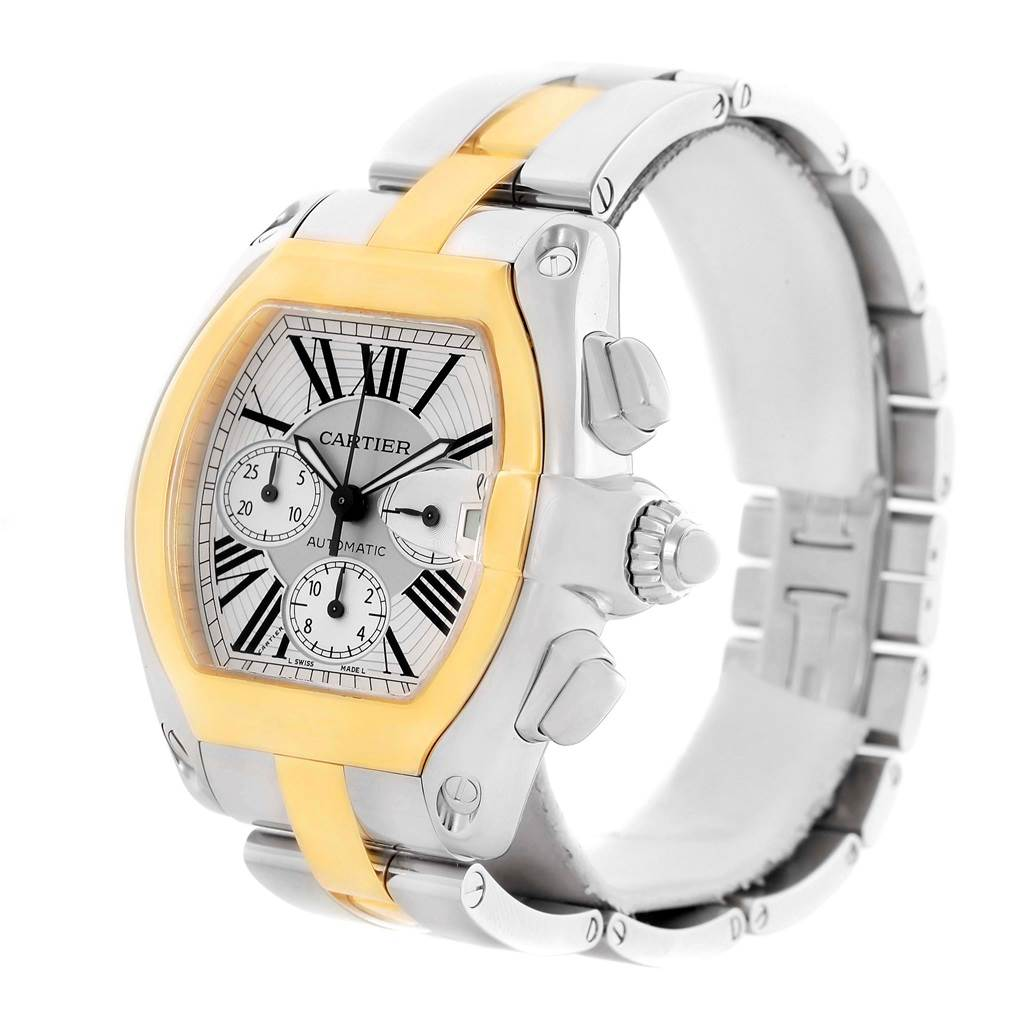 14072 Cartier Roadster Chronograph Mens Steel Yellow Gold Watch W62027Z1 SwissWatchExpo