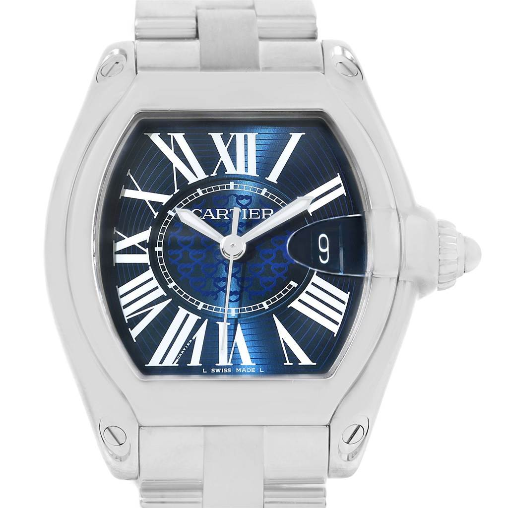 14177 Cartier Roadster XL 100th Anniversary Blue Dial Mens Watch W6206012 SwissWatchExpo