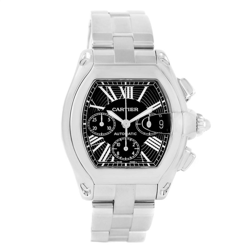 Cartier Roadster Chronograph Black Dial Stainless Steel Watch W62020X6 SwissWatchExpo