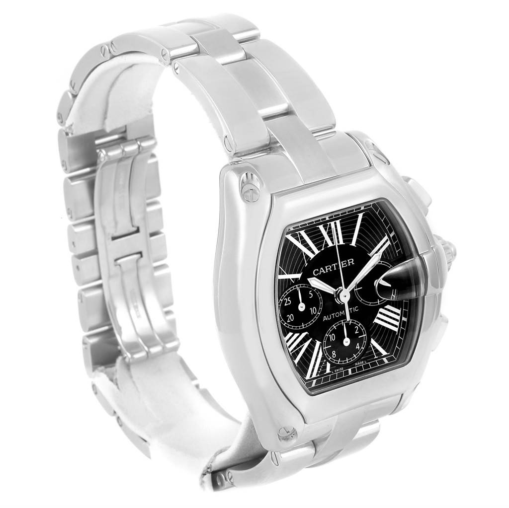 13773 Cartier Roadster Chronograph Black Dial Stainless Steel Watch W62020X6 SwissWatchExpo