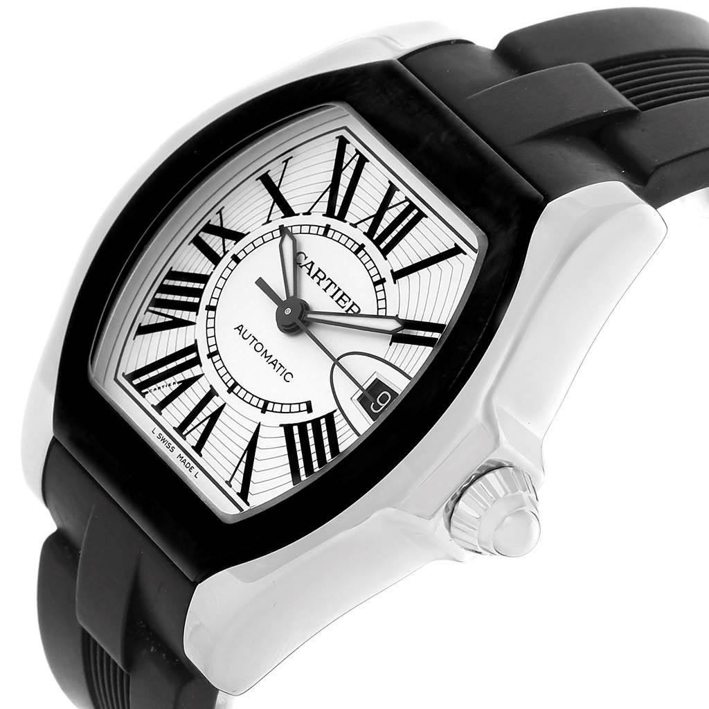 Cartier Roadster S Steel Rubber Strap Mens Watch W6206018 SwissWatchExpo