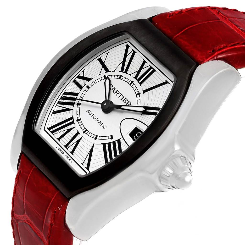 14456 Cartier Roadster S Silver Dial Red Strap Steel Unisex Watch W6206018 SwissWatchExpo
