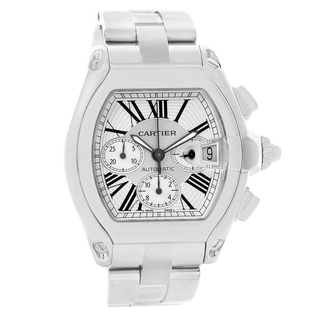 14712 Cartier Roadster Chronograph Silver Dial Automatic Mens Watch W62019X6 SwissWatchExpo