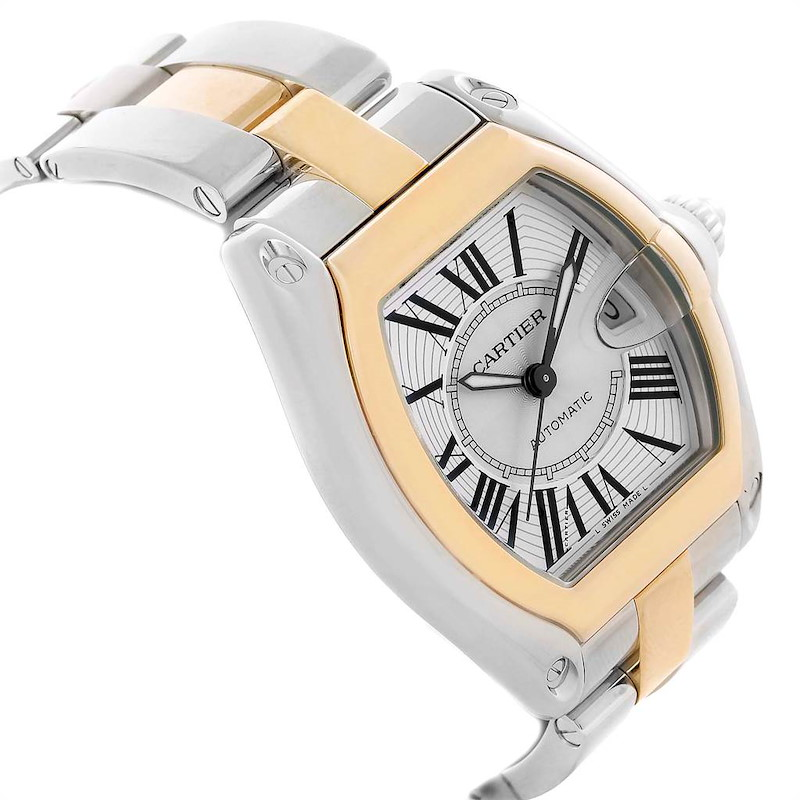 Cartier Roadster Yellow Gold Steel Automatic Mens Watch W62031Y4 SwissWatchExpo