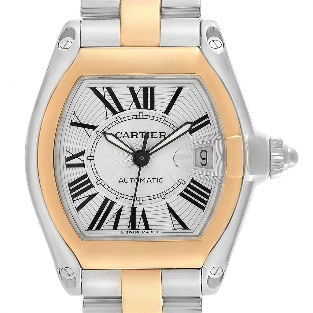 14676 Cartier Roadster Yellow Gold Steel Automatic Mens Watch W62031Y4 SwissWatchExpo