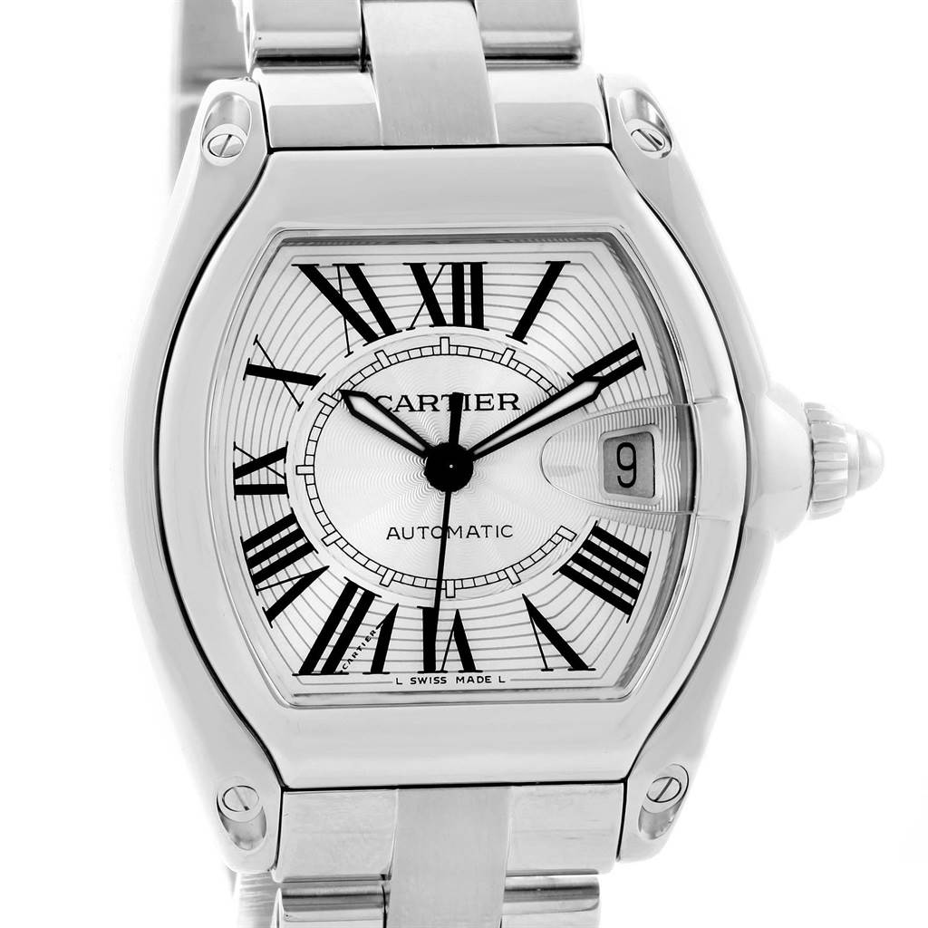 14745 Cartier Roadster Automatic Silver Dial Mens Watch W62025V3 Box Strap SwissWatchExpo