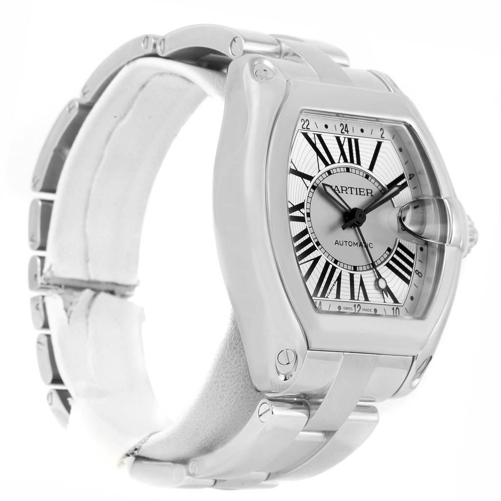13771 Cartier Roadster Dual Time Zone GMT Steel Mens Watch W62032X6 SwissWatchExpo
