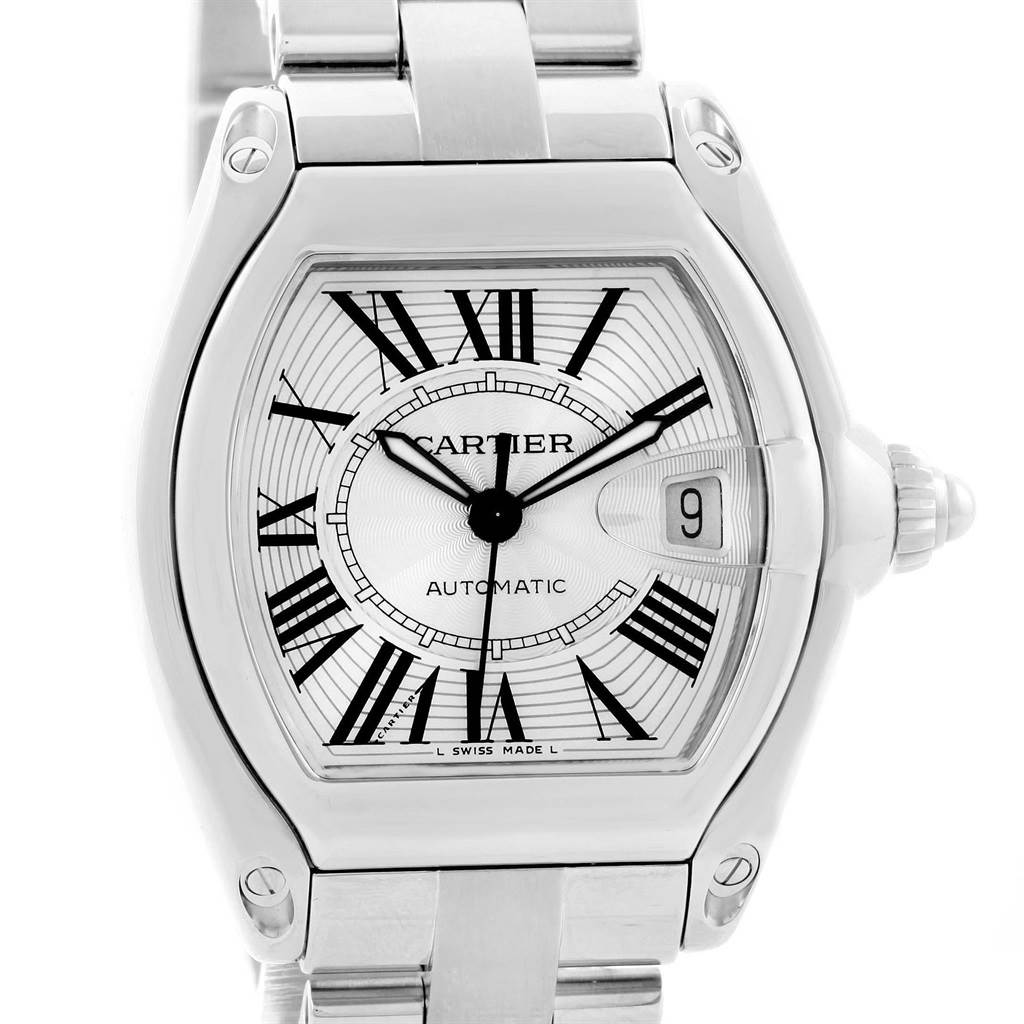14734 Cartier Roadster Silver Dial Mens Watch W62025V3 Box Papers Strap SwissWatchExpo