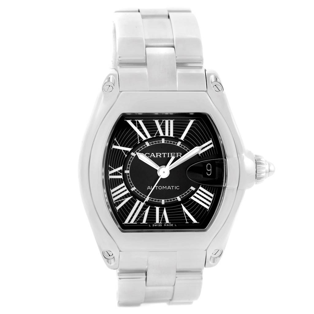 15058 Cartier Roadster Black Dial Large Stainless Steel Watch W62041V3 SwissWatchExpo