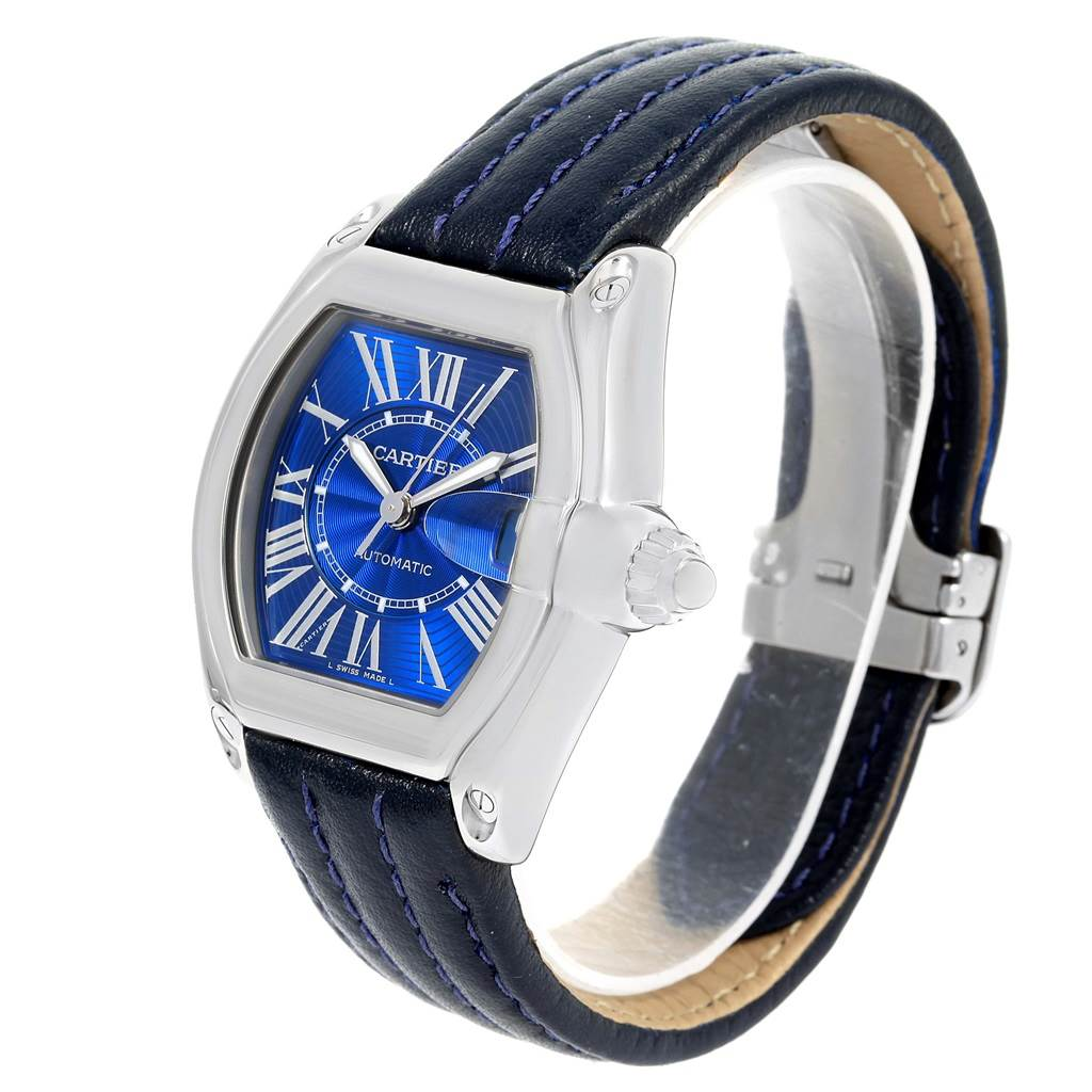 15216 Cartier Roadster Mens Steel Large Blue Dial Watch W62048V3 SwissWatchExpo
