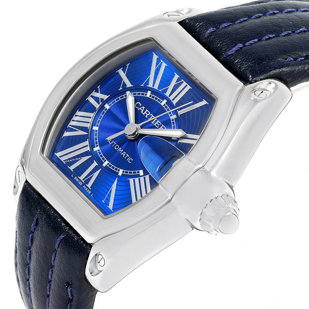 Cartier Roadster Mens Steel Large Blue Dial Watch W62048V3 SwissWatchExpo