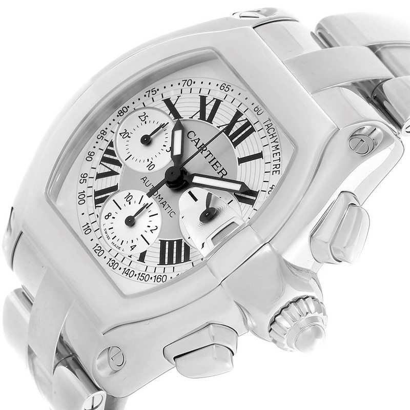 Cartier Roadster Silver Dial Chronograph Steel Mens Watch W62006X6 SwissWatchExpo