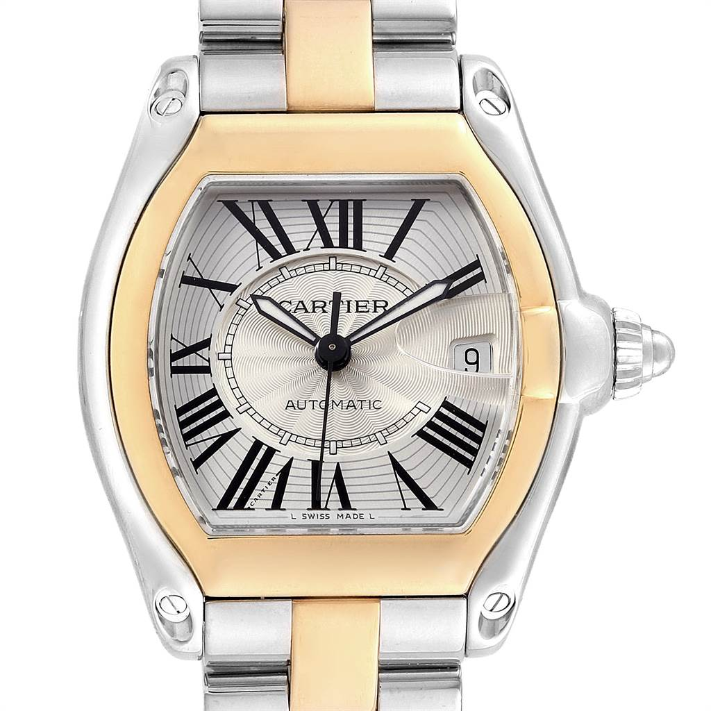 14071 Cartier Roadster Yellow Gold Steel Automatic Mens Watch W62031Y4 SwissWatchExpo