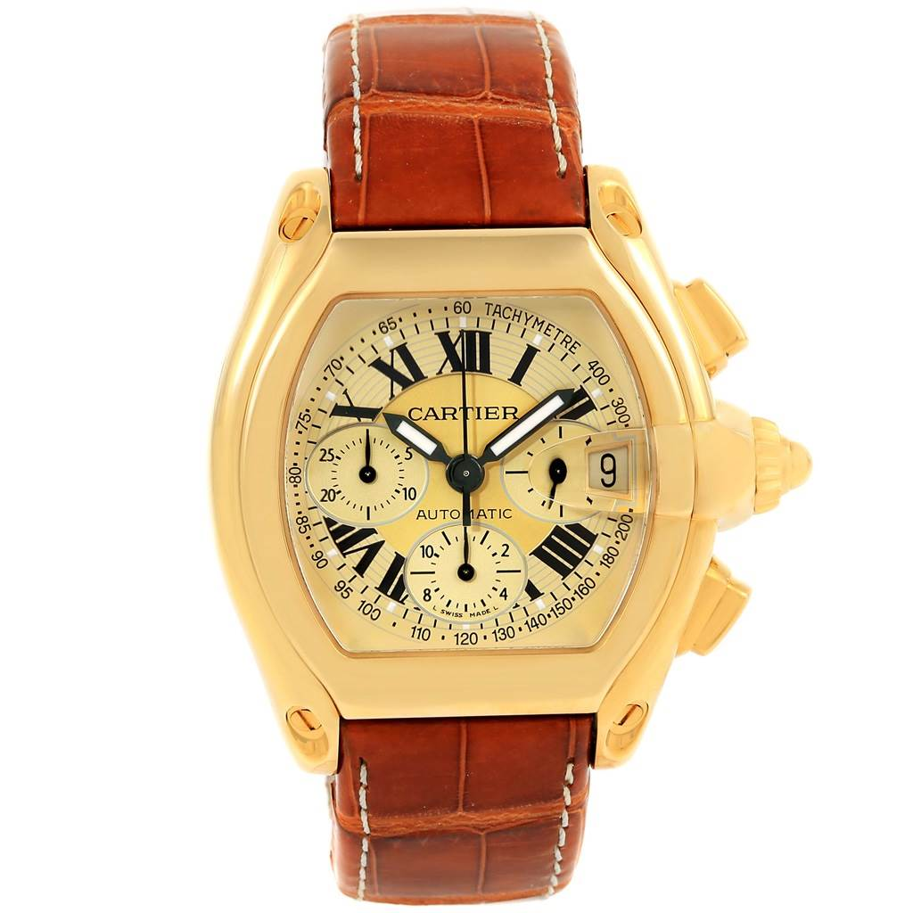 15385 Cartier Roadster Chronograph 18K Yellow Gold Watch W62021Y3 Box Papers SwissWatchExpo