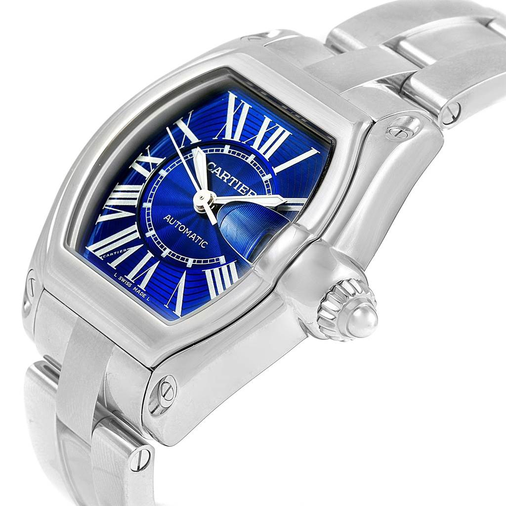 Cartier Roadster Mens Stainless Steel Large Blue Dial Watch W62048V3 SwissWatchExpo