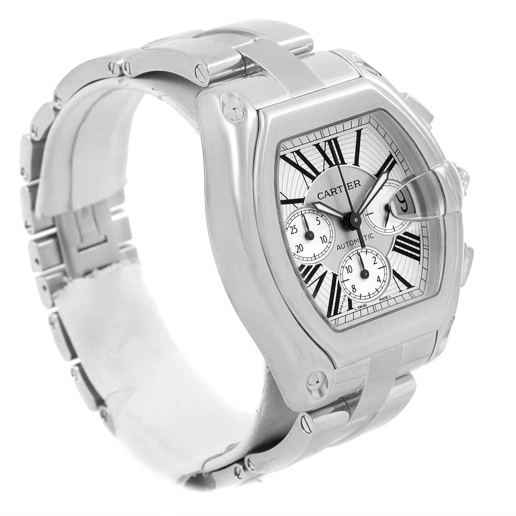 Cartier Roadster XL Chronograph Silver Dial Mens Watch W62019X6 SwissWatchExpo