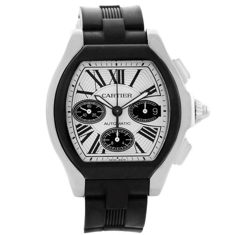 Cartier Roadster Chronograph Silver Dial Rubber Strap Watch W6206020 SwissWatchExpo