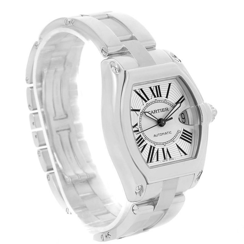 Cartier Roadster Large Silver Dial Automatic Steel Mens Watch W62025V3 SwissWatchExpo