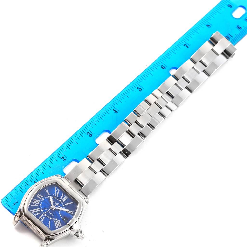 Cartier Roadster Blue Dial Steel Mens Watch W62048V3 Box and Papers SwissWatchExpo
