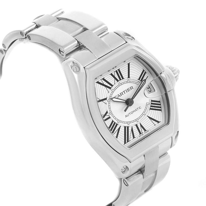 Cartier Roadster Large Silver Roman Dial Steel Mens Watch W62025V3 SwissWatchExpo
