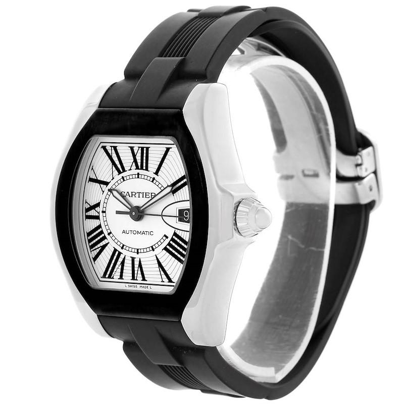 Cartier Roadster S Silver Dial Black Strap Steel Unisex Watch W6206018 SwissWatchExpo
