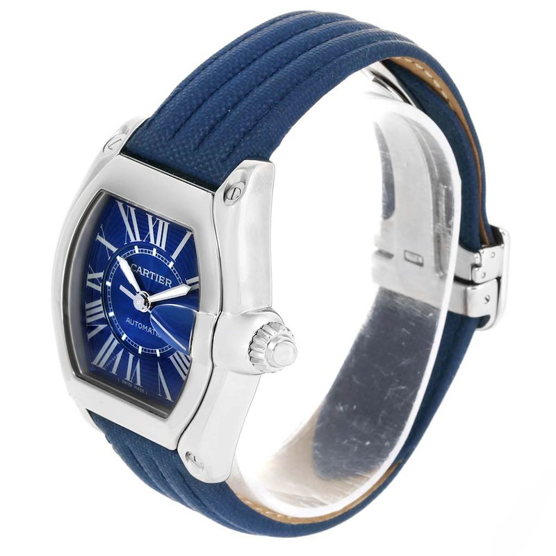 Cartier Roadster Blue Dial Mens Steel Watch W62048V3 Box Papers Strap SwissWatchExpo